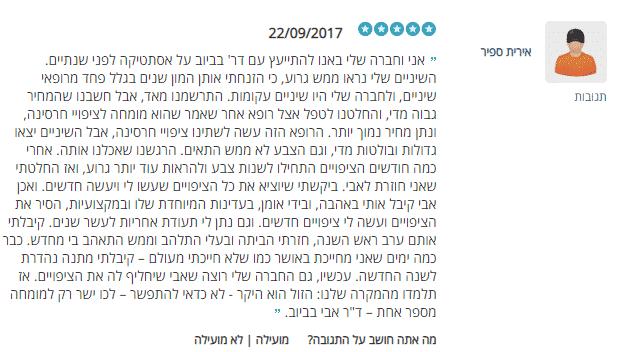 """אירית ממליצה על ציפוי חרסינה לשיניים  במרפאת ד""""ר אבי בביוב בירושלים"""